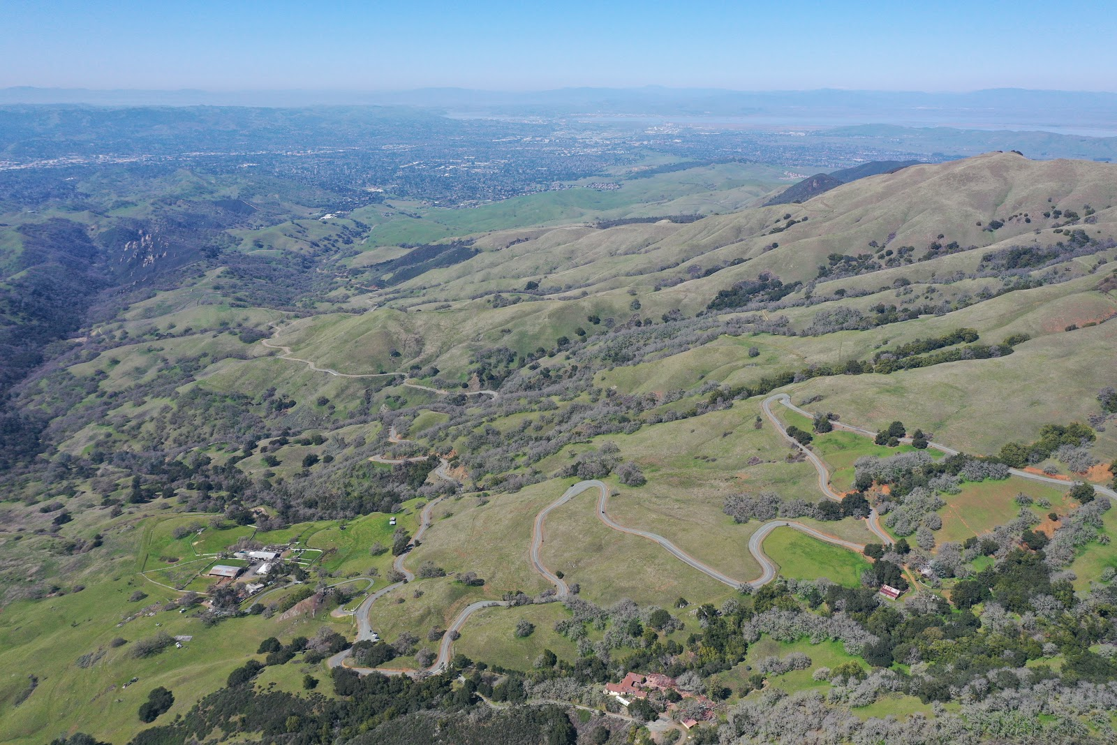 Cycling Mt. Diablo - North Gate - aerial drone photo of hairpin turns