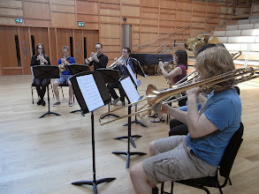 Photo: Brass group in rehearsal for the first lunchtime concert.