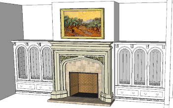 Photo: first pass at Family Room design with full Pugin mantel from Francois & Co. and complementary cabinets