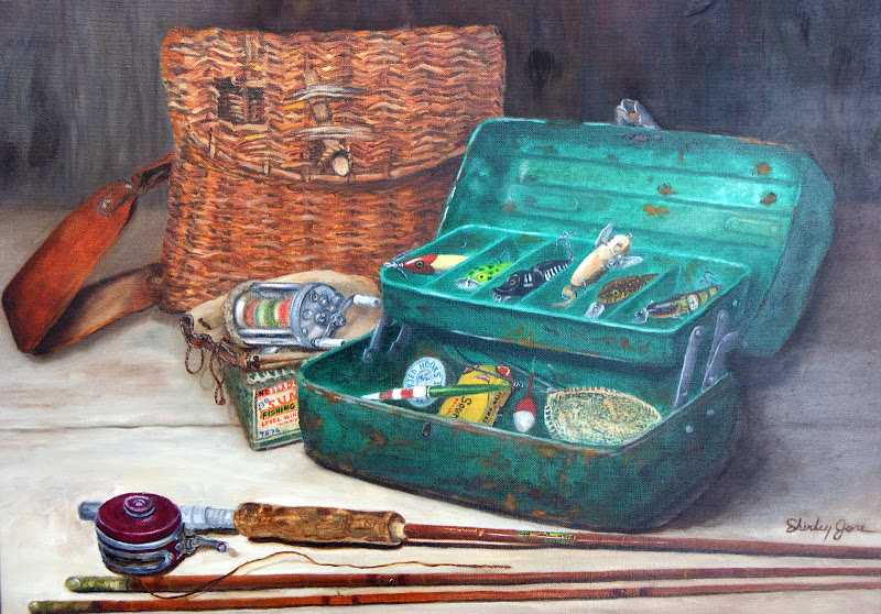 """Photo: """"Fishing Time"""" is a large oil painting, featuring Frank Gore's fishing box and tackle and Russell Gardner's creel."""