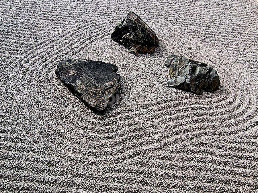 Zen garden by Marianna Armata - Nature Up Close Rock & Stone ( 3, ring, sand, pattern, zen, pebbles, lines, circle, group, marianna armata, rocks, garden )