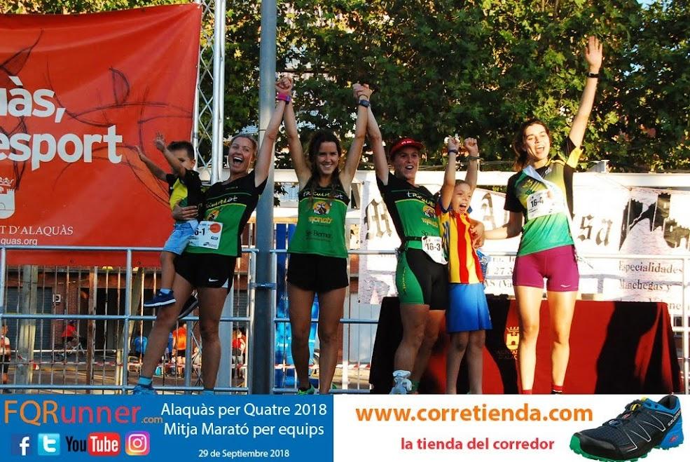 Equipo femenino ganador Media Maratón por equipos Alaquàs 2018