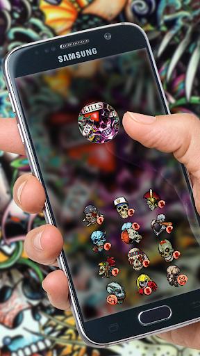 Rock Skull Graffiti Theme & Lock Screen & Call  screenshots 4