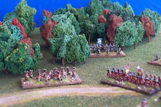 Photo: I combattimenti a nord del campo di battaglia.Miniature Baccus, materiale scenico autocostruito.