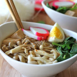 Miso Soup with Vermicelli Mushrooms and Tofu.