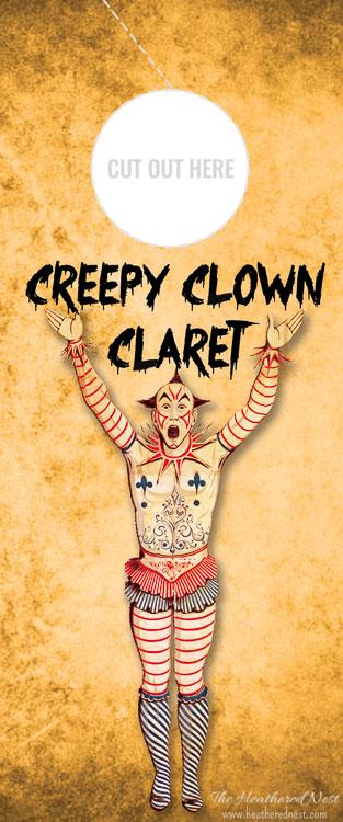 Creepy Clown Claret Free Printable Wine Gift Tag