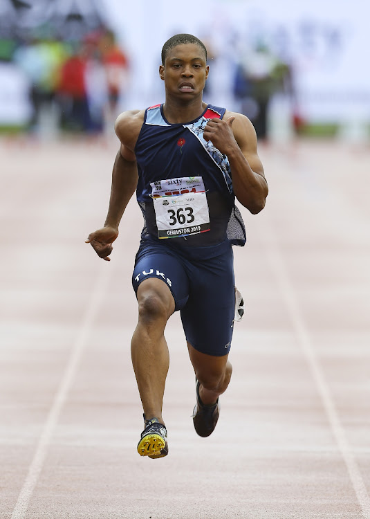 Thando Roto of AGN in the heats of the meens 100m during the day 1 of the 2019 Sizwe Medical Fund & 3SixtyLife ASA Senior Track & Field and Combined Events Championships at Germiston Athletics Stadium on April 25, 2019 in Johannesburg, South Africa.