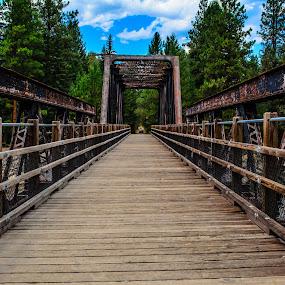 The Bridge over water by Jennifer Parmelee - Buildings & Architecture Public & Historical ( clouds, trussles, wood, railway, colors, trees, places, bridges )
