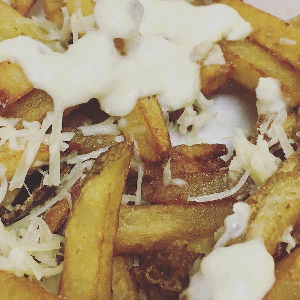 Garlic parmesan fries; all gluten-free items are made in a dedicated fryer