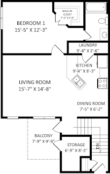 Go to One Bed, One Bath E Floorplan page.