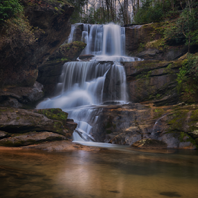 Little Bradley Falls by Mark Turnau - Landscapes Waterscapes ( waterscape, waterfall, long exposure, waterscapes, north carolina )