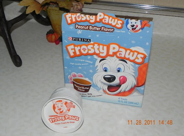 Get out your frozen doggie treats and let them thaw in a bowl, till...