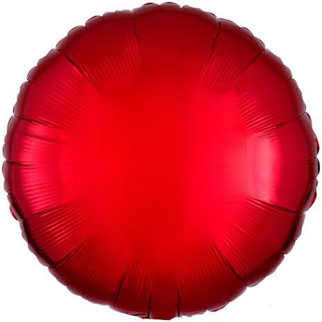 Folieballong, rund metallic röd 43 cm