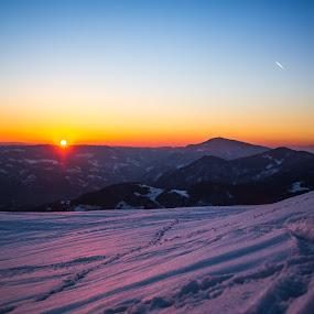 Sunset by Adrijan Pregelj - Landscapes Sunsets & Sunrises ( cold, sunset, snow, sunlight, sun )