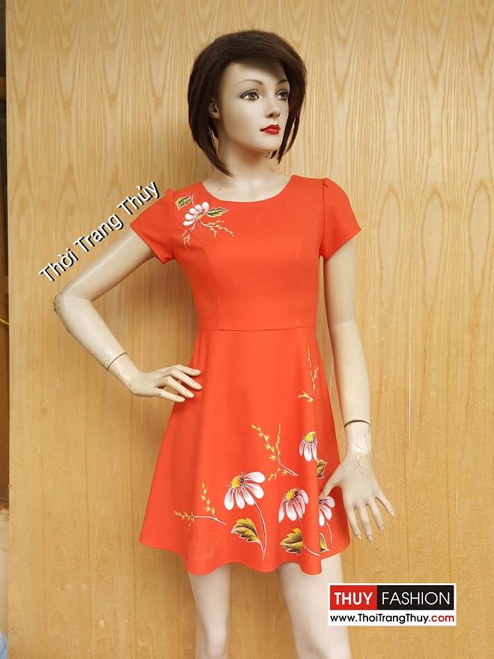 Váy xòe công sở họa tiết hoa vẽ tay thủ công V466 tại Thời Trang Thủy
