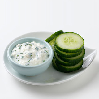 Cucumber Chips with Dip.