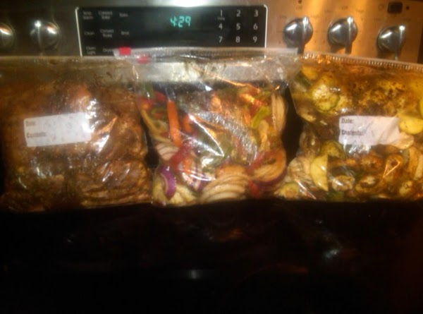 Ziploc bags (in the refrigerator) are a great way to marinate your chicken and veggies.