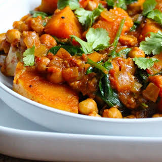 Butternut Squash Chickpea and Spinach Curry.