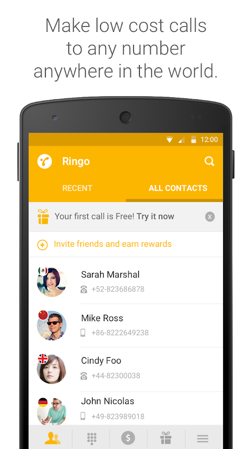 Ringo: Low cost calling- screenshot