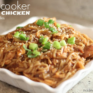 Slow Cooker Asian Chicken with Rice Noodles.