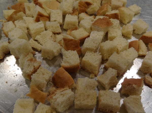 Stir in the croutons and mix well.