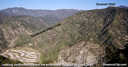 Photo: View northwest toward Mountain Cove and the southwest ridge of Summit 2843