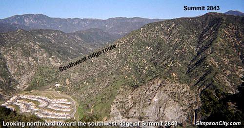 Photo: View northwest toward Mountain Cove and the southwest ridge of Summit 2843