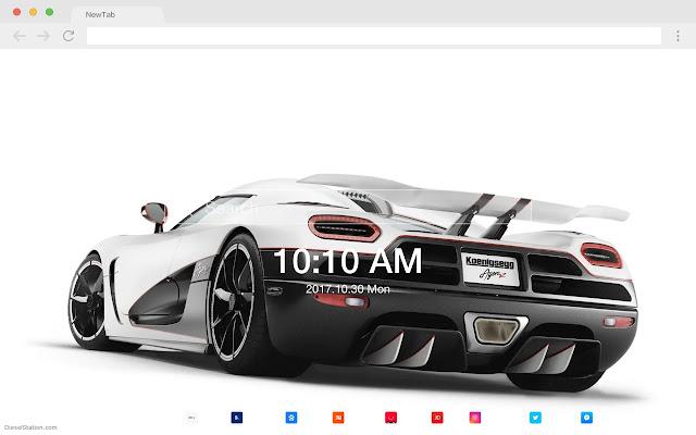 White car popular HD car new tab page theme