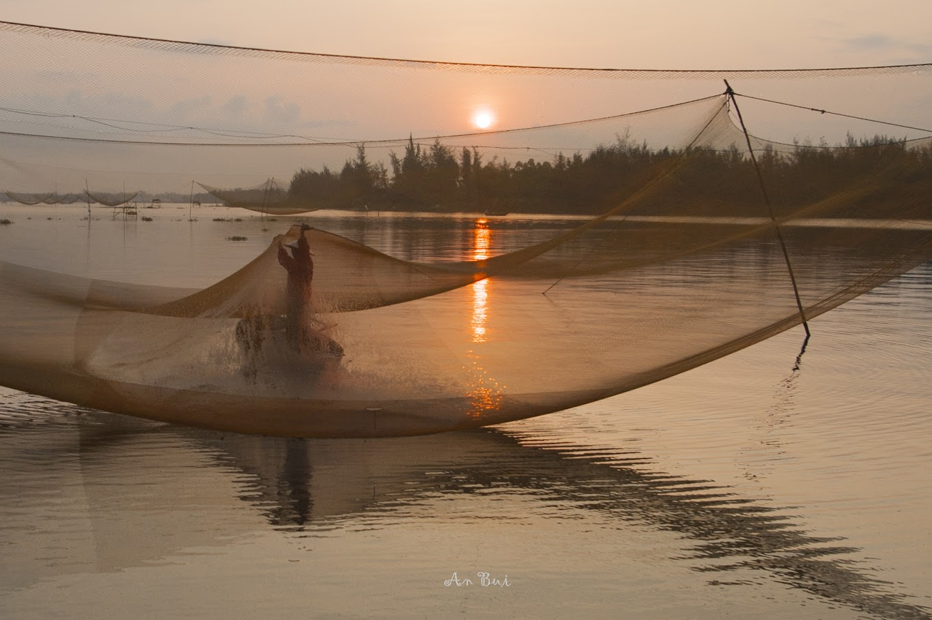Sunrise photo shooting of fishing net in Hoian
