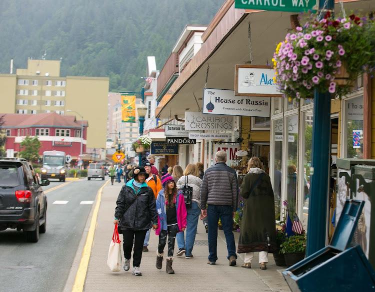 A stretch of shops along North Franklin Street in downtown Juneau, Alaska.