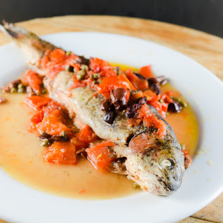 Hookin' And Cookin' – Rainbow Trout With Capers Olives And Tomatoes