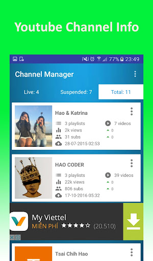 Channel Manager For Youtube 2.6 screenshots 5