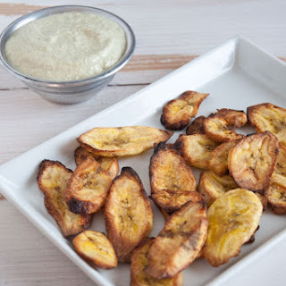 Oven-Baked Plantain Chips with a Cilantro Lemon Dip Recipe