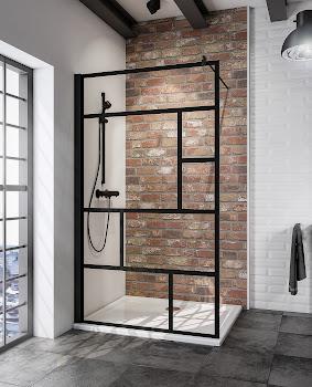 Duschwand Walk In Black Style, 1200x2000 mm, Schwarz, Sicherheitsglas Atelier 1 mit Fixil