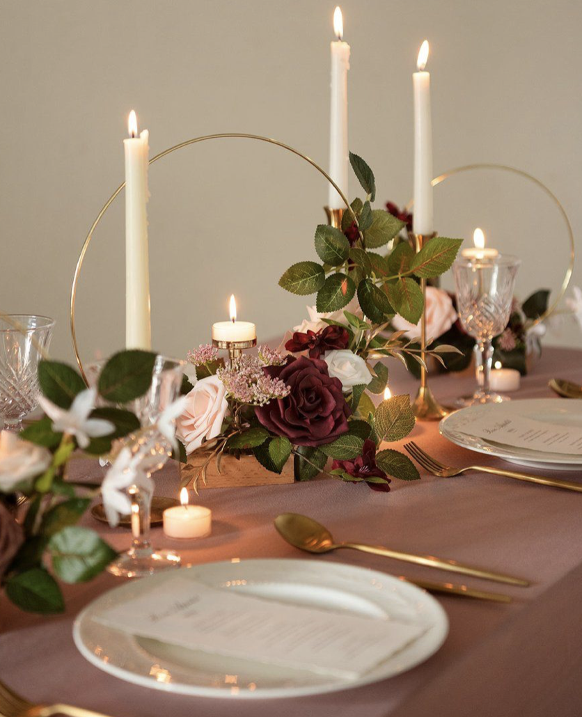 flowers and candles tablescape