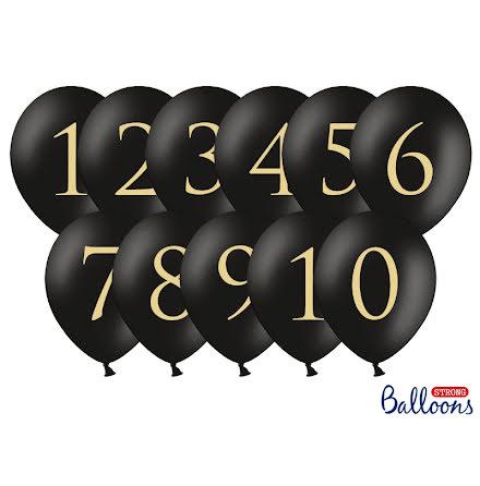 Ballonger siffror, svarta