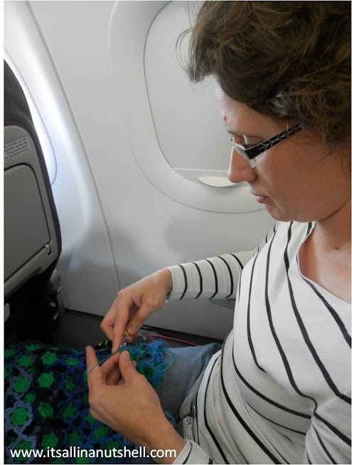 me crocheting on the plane