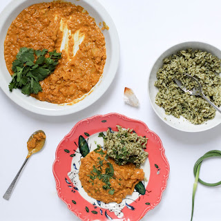 Coconut Curry Lentils and Kohlrabi with Green Rice.