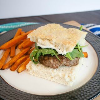 Goat Cheese and Herb Burgers with Homemade Focaccia Buns.