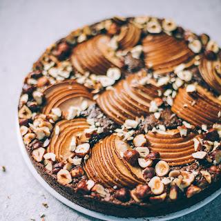 Flourless Chocolate Cake with Cardamom, Pear and Hazelnuts.