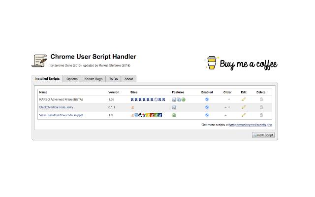 Chrome User Script Handler
