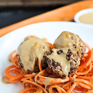 Sunflower Seed Butter Sauce Drenched Carrot Noodles with Black Bean 'Meatballs'