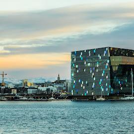 Reykjavik by Edvald Geirsson - City,  Street & Park  Vistas ( iceland, reykjavik, harbour, boats, harpa, sea )