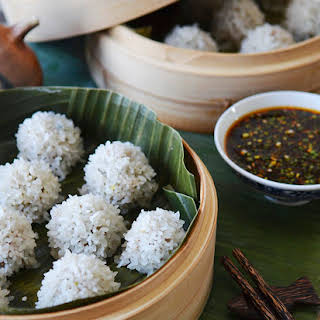 Pearl Rice Balls with Ginger-Sesame Sauce.