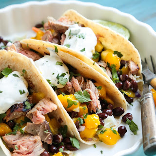 Grilled Tuna Soft Tacos with Mango Black Bean Salsa