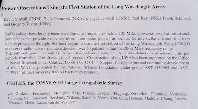 Photo: Abstract of LWA talk on Pulsars