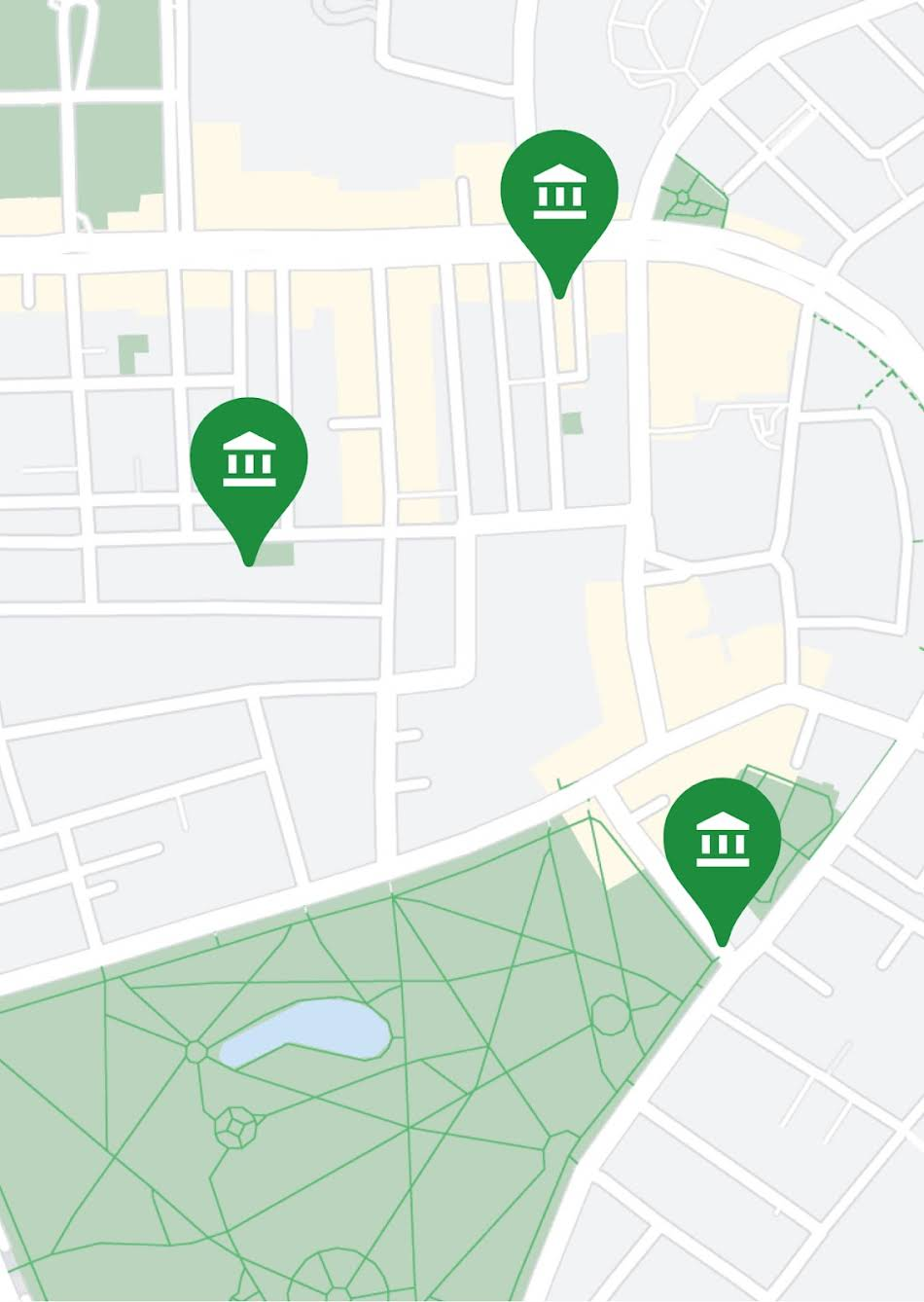 Three bank locations shown on a map
