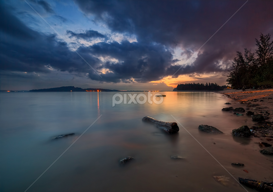 Serene Beauty by Partha Roy - Landscapes Weather ( sea beach, sun ray, morning ray, waterscape, sea, pwcstorm, long exposure, sunrise, seascape, singapore, punggol )