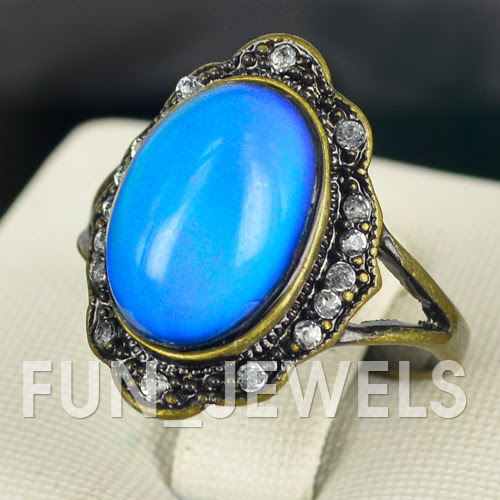 beautiful oval mood ring antique bronze multi colored