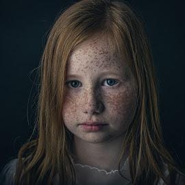 Freckles by Corine de Ruiter - Babies & Children Child Portraits ( girl, innocent, fragile, dark, moody, freckles, sproeten )